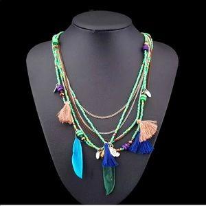 Jewelry - Gypsy Boho Feather Beads Festival Necklace❣️
